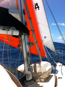 This is my cutter rig, small sails easily handled.