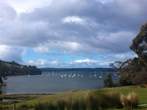 Oyster Cove looking toward Bruny Is.